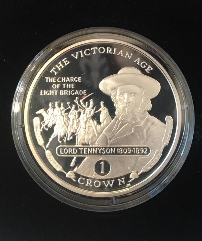 2001 Gibraltar Crown Silver Proof Horse Coin Tennyson Queen Elizabeth & Box