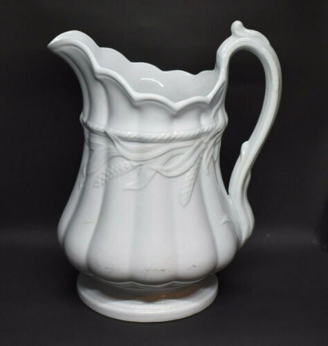 """Elsmore & Forster Ceres Wheat White Ironstone 10"""" Pitcher 1864"""