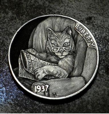 Original Hobo Nickel Cat Kitten Coin by Howard Thomas OOAK