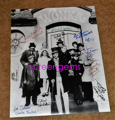 Willy Wonka Chocolate Factory RARE signed by 12 cast Gene Wilder 16x20 Large !