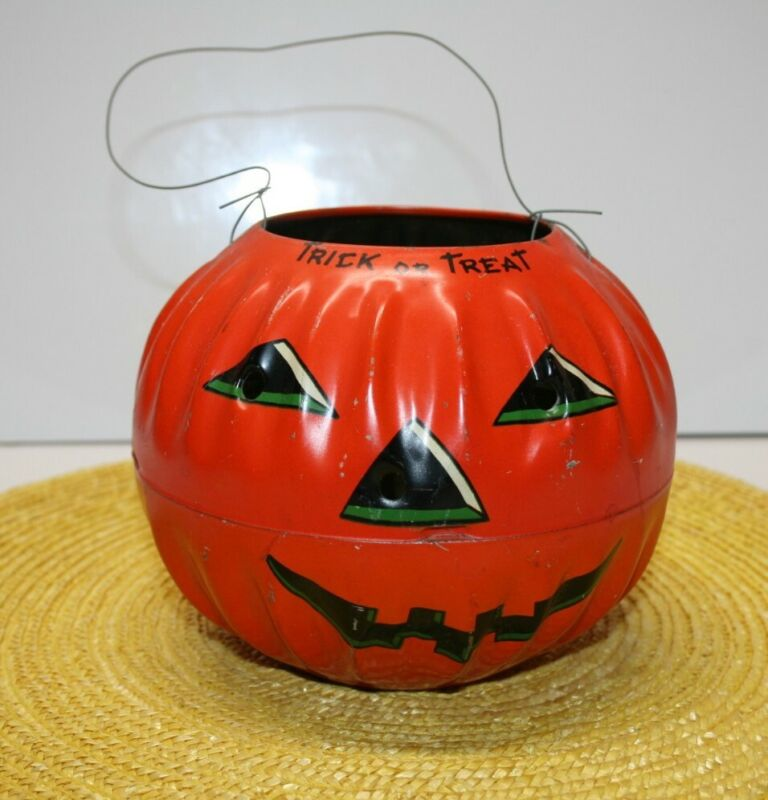 Vintage Halloween Decoration Jack O' Lantern 1950s Tin Lithography, US Metal Toy