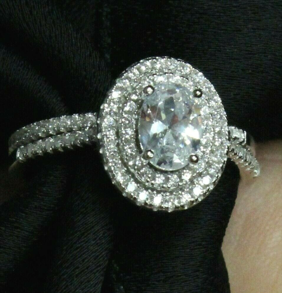 GIA Certified Diamond Engagement Double Halo Ring 1.89 CT Oval Shape 18k Gold