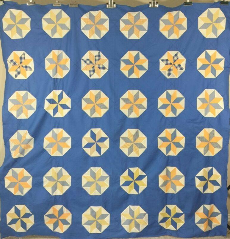 Antique Quilt Top Star in Hexagon Large C1930