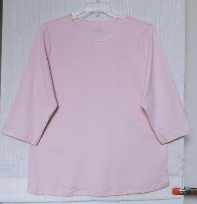 CJ Banks Light Pink knit top, 3/4 sleeve, satin neck, Sizes 1X, 2X, 3X NWT - Light Pink Light