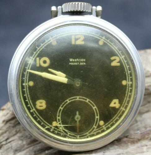 Westclox Pocket Ben Watch Men Silver Black Dial Luminous Dial Runs 49.4mm (J2P)