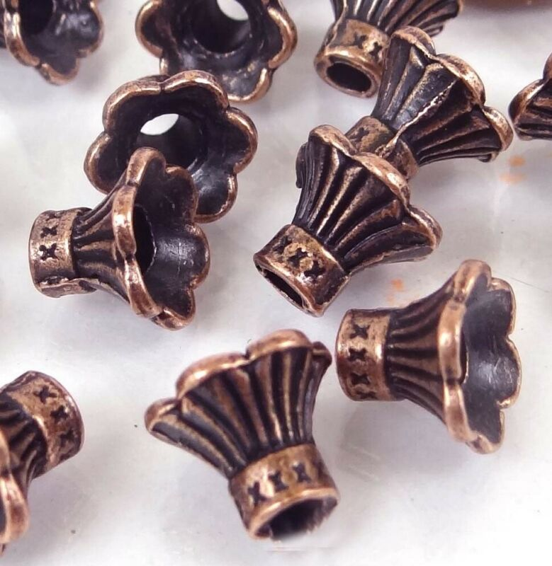 20 Antique Copper Pewter Petal Bell Flowers Caps Beads 9x10mm