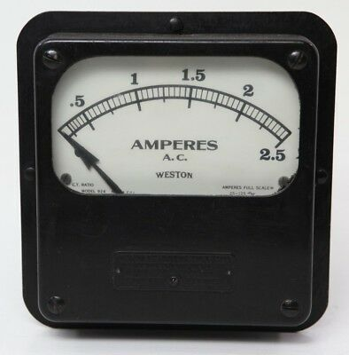 Vintage Weston 924 Amp Meter 5.0 Ac Amperes No. 3384 Electrical Panel Instrument