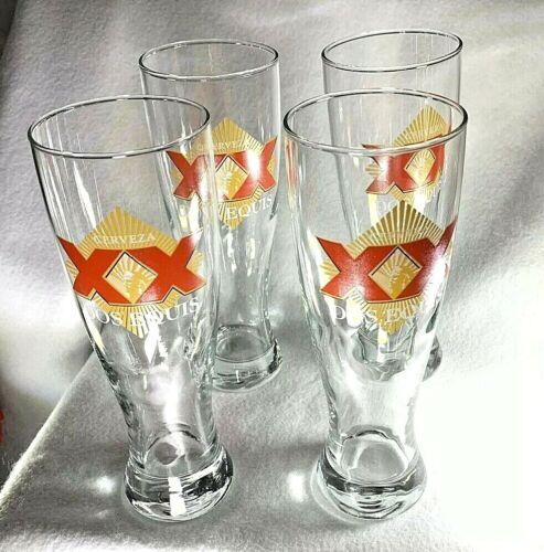 Dos Equis Grand Pilsner Tall Beer Glasses Set of Four 16 Oz Cerveza NEW