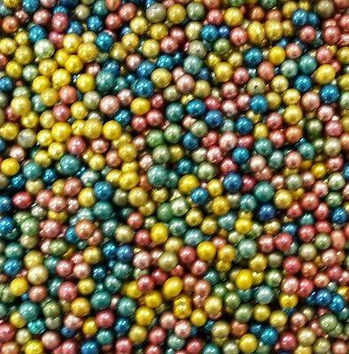 Multi Colour Metallic 4mm Edible Sugar Pearl Balls/Dragees - 50g