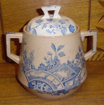Antique Hp M Holmes Plant   Mayd Stone China Sugar Bowl   Seine Blue   Stained