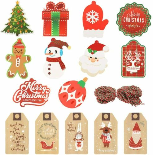 150+Pack+Christmas+Gift+Tags+Present+Labels+Tree+Decoration+with+Red+Green+Twine