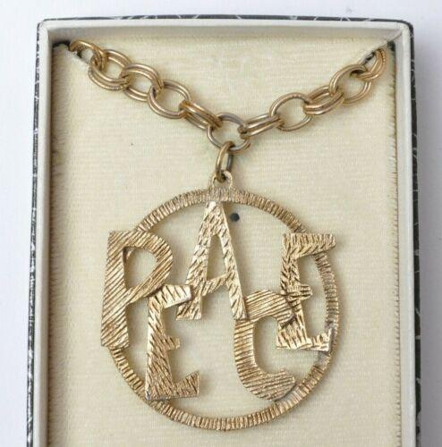 Vintage 1960s/1970s Vietnam War Era Hippy PEACE Metal Pendant/Necklace w/ Box