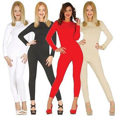 Damen Schwarz Rot Hautfarben Weiß Gesamtlänge Body Anzug Overall Maskenkostüm