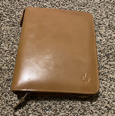 Franklin Covey Tan Genuine Leather 6-ring Compact Binder Planner 6x7.5 Zip Snap