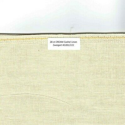 28 Ct CREAM Cashel Linen Zweigart #3281/222, Your choice of TE- or larger size