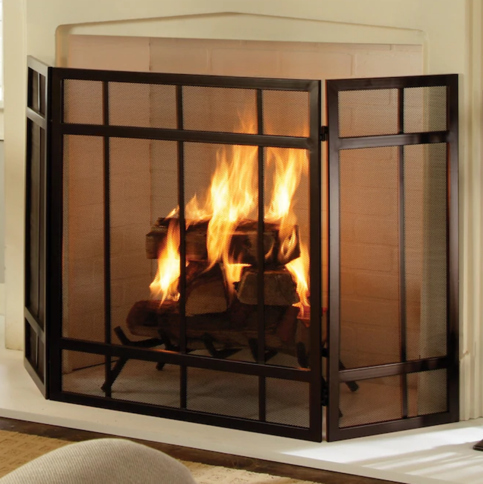 Pleasant Hearth 54-in Wenge Steel 3-Panel Craftsman Fireplac