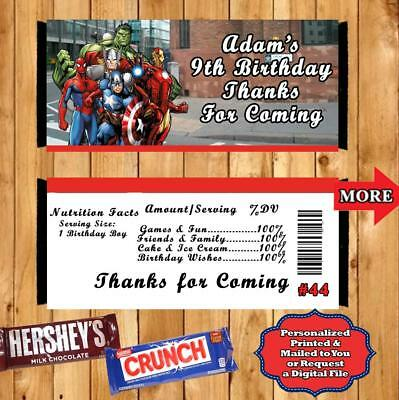Superhero Birthday Candy Bar Wrappers 10 ea Personalized can be a Invitations