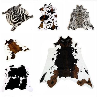 Animal Printed Zebra Leopard Tiger Cow Hide Faux Fur Rug Carpet Blanket - Animal Rug