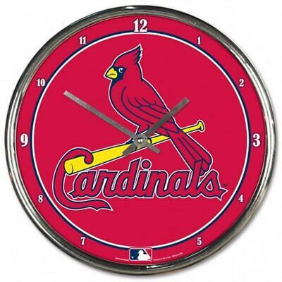 St Louis Cardinals Chrome Round Wall Clock [NEW] MLB Sign Banner Office Cave Cardinals Round Wall Clock