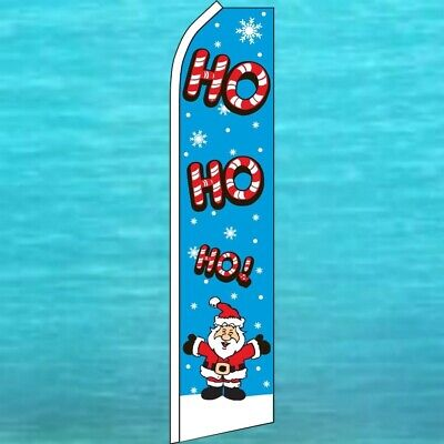 Ho Ho Ho Christmas Santa Flutter Flag Tall Wind Swooper Feather Banner Sign