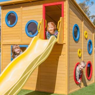 Kids Wooden Cubby House Play Fort with Slide and Windows