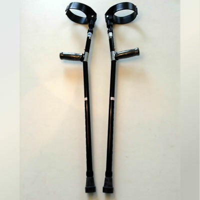 Forearm Crutches Black Size M (Pair) Walking Lightweight Adjustable Small Cuff