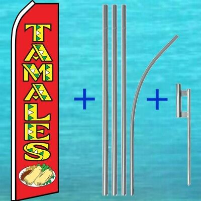 Tamales Flutter Flag Pole Mount Kit Tall Wind Feather Swooper Banner Ad Sign