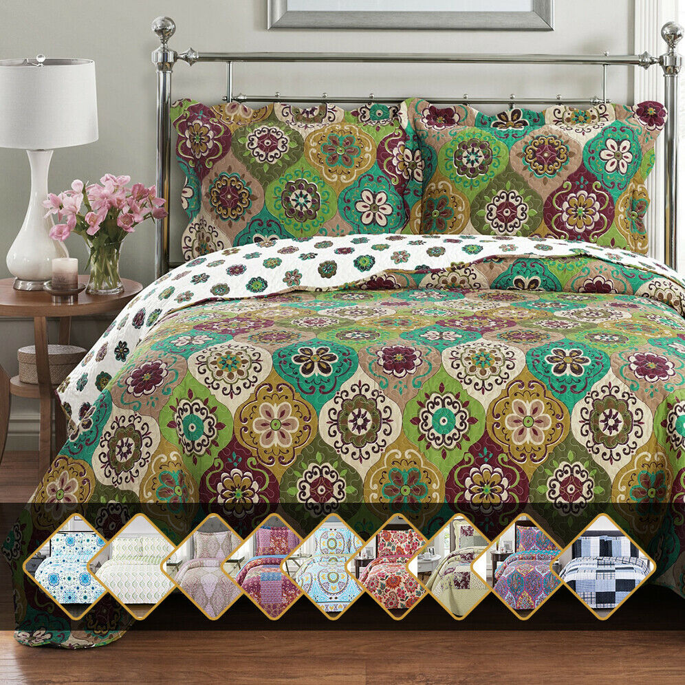 reversible patchwork printed oversized coverlet microfiber w
