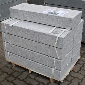 Blockstufe Naturstein Granit grau geflammt 150/35/15cm
