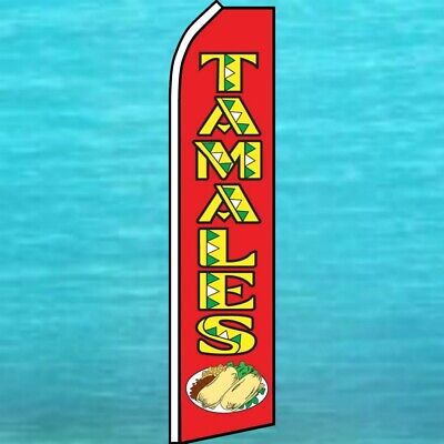 Tamales Flutter Flag Tall Curved Wind Advertising Sign Feather Swooper Ad Banner