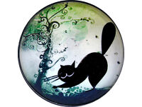 Black Cat /& Playing Card Suits Crystal Dome Button Lg Sz 1 /& 3//8 inch PC06