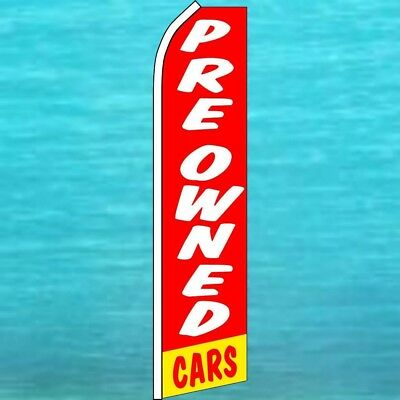 Pre Owned Cars Flutter Flag Feather Swooper Banner Used Car Lot Advertising Sign