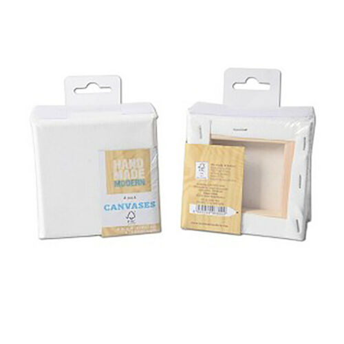 4 Pack 4 Inches Stretched Mini / Small Canvas Blank White Painting Craft Supply