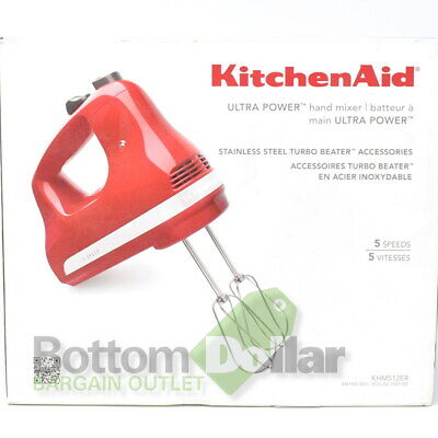 KitchenAid KHM512ER 5 Speed Ultra Power Stainless Steel Turbo Hand Mixer Red