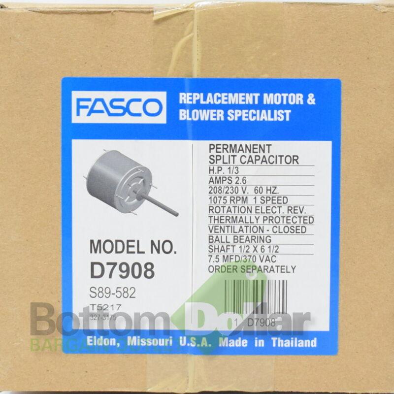 Fasco D7908 1/3 HP 208-230 Volts 1075 RPM 1 Speed 2.6 Amps Condenser Fan Motor