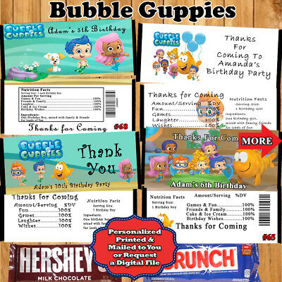 Bubble Guppies Birthday Candy Bar Wrappers 10 ea Personalized Custom - Custom Candy Bar Wrappers