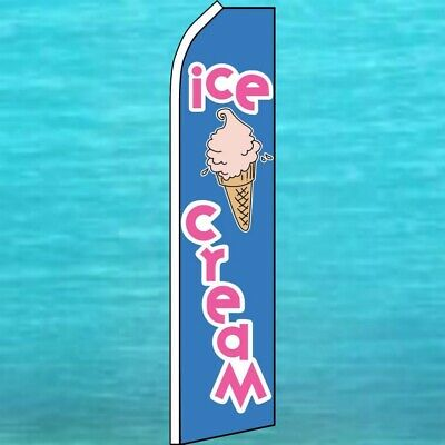 Ice Cream Wind Flutter Flag Tall Curved Advertising Sign Feather Swooper Banner
