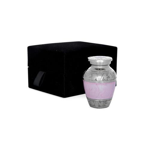 Cremation urn - pale pink/nickel solid brass keepsake & velvet box