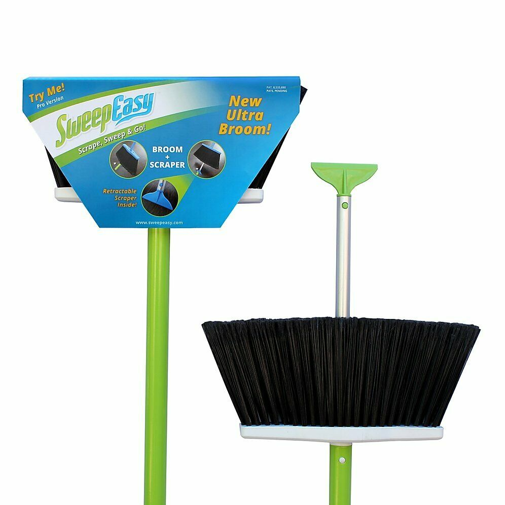 SweepEasy New Scrape and go Broom, as seen on Shark Tank! Duluxe, Green