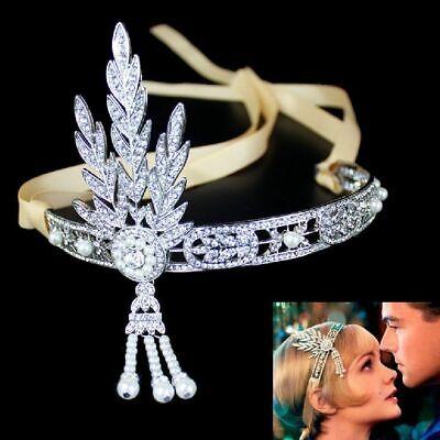 Tiara Diadem Great Gatsby Daisy Perlen Strass 1920'er Kopfschmuck Braut Hochzeit ()