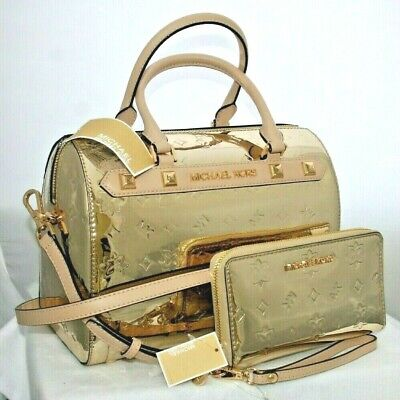 MICHAEL KORS METALLİC GOLD MK SIGNATURE SATCHEL DUFFLE TOTE BAG WALLET