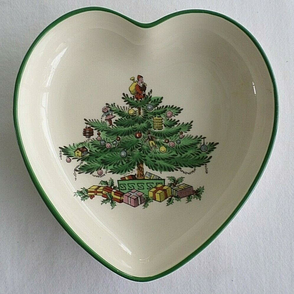 Spode, Christmas Tree Pattern, Heart Shaped Trinket / Dip Dish - $3.99