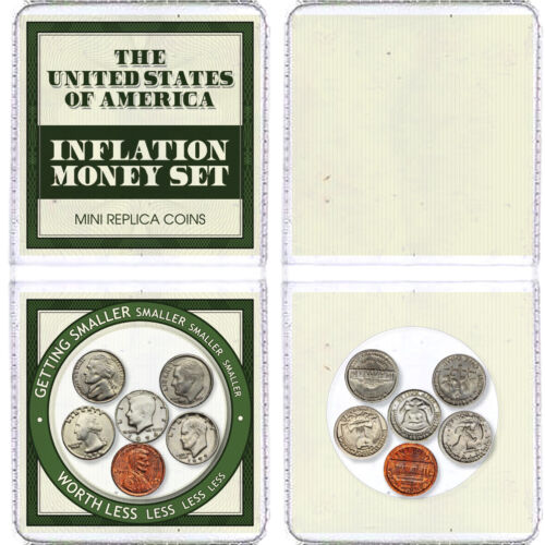 6x Mini Inflation Coins - Tiny Shrunken Metal Miniature US Coins / USA Money Set