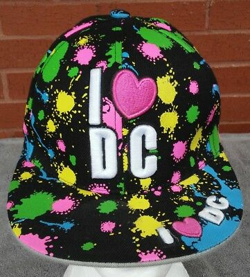 Women's I Heart DC Hat Baseball Cap 90s Hip Hop Fashion Paint Splotches