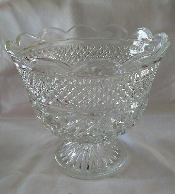 """8"""" Vintage Anchor Hocking Wexford Fruit Compote Crystal Glass Bowl Diamond"""