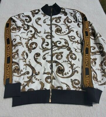 Versace Bomber  Spell out Jacket For Men Size M Full Zip Bootleg