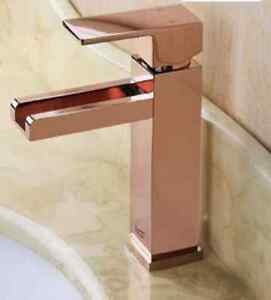 CRYSTALED WATERFALL BATHROOM CLOAKROOM BASIN SINK MIXER TAP ROSE GOLD