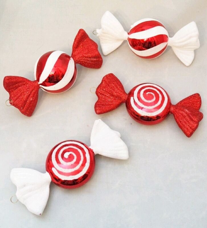 """Candy Ornament Sweets Set 4 Large White Red Metallic Shatterproof 6""""  Decor"""