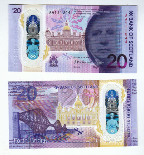 SCOTLAND 20 Pounds 2019 *Forth Bridge Polymer Serial AA - UNC