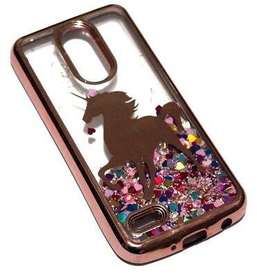 (For LG Aristo 2 PLUS - Rose Gold Unicorn Hearts Glitter Liquid Skin Case Cover)